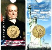 Блистер с монетой США 1 доллар 2008 г., Президенты USA (Джон Куинси Адамс)