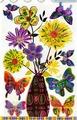 Наклейки ЛиС объёмная 3D с глиттером 32х51см ПВХ, Цветы и бабочки