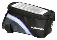 Велосипедная сумка Roswheel на раму размер L (9х10х19.5 см, чёрный/синий)