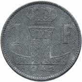 Монета Бельгия 1 франк 1942-1946 (Belgique - België) Цинк (VF-XF) F144402