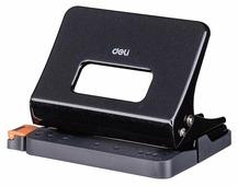 Дырокол Deli E0141black металлический с линейкой, цвет черный
