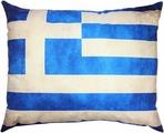"""Подушка декоративная Штучки, к которым тянутся ручки """"Флаг холст. Греция"""", цвет: синий, белый, 48 x 38 см"""