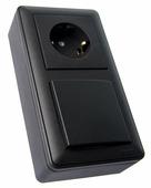 W59 коробка подъемная для наружного монтажа с рамкой 2-местная, черный бархат Schneider Electric, KP-252-68