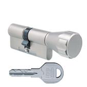 Цилиндровый механизм EVVA ICS ключ-вертушка никель 36x36