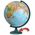 Физико-политический глобус рельефный d=32 см с подсветкой от батареек Глобусный мир 16027