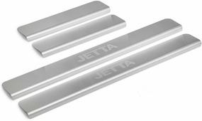 Накладки на пороги Rival для Volkswagen Jetta VI 2011-2015 2015-н.в., нерж. сталь, с надписью, 4 шт. NP.5805.3