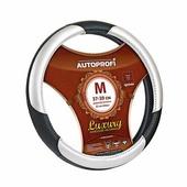 """Оплетка руля Autoprofi """"Luxury AP-1010"""", с вставками из экокожи, цвет: черный, серебристый. Размер M (38 см). AP-1010 BK/SILVER (M)"""