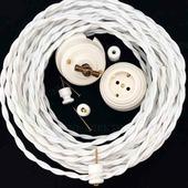 Ретро провод витой в декоративной текстильной оплетке 2х0,75 мм2 белый Царский Стиль RS-10-01 (бухта 50м)