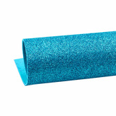 Фоамиран глиттерный 2мм, цвет ярко-голубой