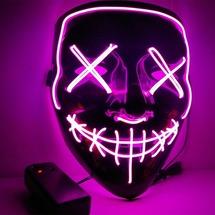 Неоновая маска для праздника Baziator Судная ночь The purge розовая