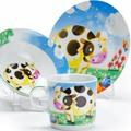"""Набор детской посуды Loraine """"Корова"""", цвет: голубой, желтый, белый, 3 предмета"""