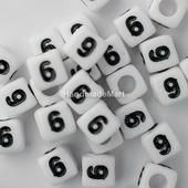 """Акриловая Цифра """"6"""", Квадратная, 7 мм, Белая"""