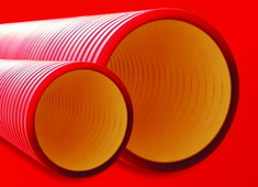 Труба жесткая двустенная 110мм, цвет красный ДКС