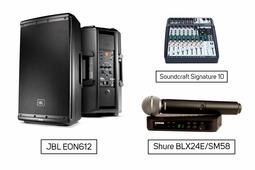 Soundcraft Signature 10 + JBL EON612 + Shure BLX24E/SM58