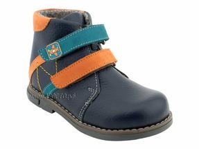 25133-02 ШагоВита, ботинки демисезонные утепленные, черный ирис, оранжевый, голубой, кожа, байка