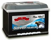 Аккумулятор для легковых автомобилей Sznajder Silver Premium (75 A/h), 750A R+