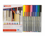 Набор ручек капиллярных Edding для бумаги и картона, 0,3 мм, 10 цветов, металлическая коробка, ассорти {E-55#10S}