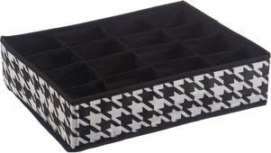 "Короб для хранения Handy Home ""Пепита"", 16 секций, цвет: черный, белый, 35 х 27 х 9 см"