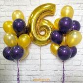 Фонтан из гелиевых шаров с цифрой - Стильное ДР, 21 шт. с обработкой
