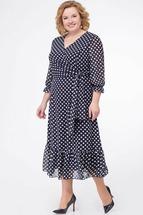 Платье Кэтисбел 1452 тёмно-синий горох