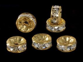 Рондели 8 мм, золото, с прозрачными стразами