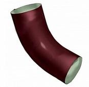 Колено (отвод) водосточной трубы Grand Line Optima 125/90 круглое сечение, 60 град., красный