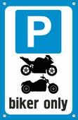 """Табличка TPS 024 """"Парковка байкер"""", пластик 3 мм,30*19,5 см"""