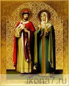 Петр и Феврония (рукописная икона). Серия: ИК, Размер (см): 40х50 (Иконы святых)