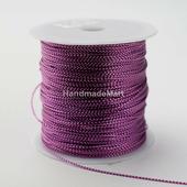 Шнур Декоративный, 1 мм, Металлизированный, Ярко-Розовый, 1 м