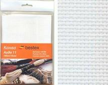 """Канва для вышивания Bestex """"Aida 11"""", цвет: белый, 50 см х 50 см. 426788"""