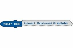 Пилки для лобзиков, сталь 1-3мм/цв.металлы, 51х1,2 мм, (5 шт.) для резания по кривой Metabo 623647000