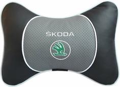 """Подушка на подголовник Auto Premium """"Skoda"""", цвет: серый, черный. 37552"""