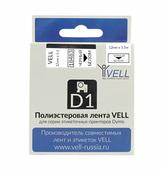 Лента Vell VL-D-18483 (полиэстер, 12 мм x 5.5 м, черный на белом) {vell18483}