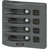 Панель выключателей водонепроницаемая Blue Sea WeatherDeck 4374 4 автоматов 108 x 109 мм
