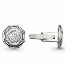 Запонки из серебра 925 пробы с фианитами AQUAMARINE 72510А