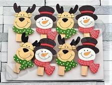 """Набор новогодних деревянных прищепок """"Олень и снеговик в шарфах"""", 8 шт, 5 см (Miland)"""