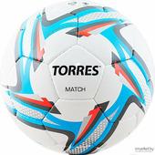Футбольный мяч Torres Match р.5, 32 панели. PU, 4 под. слоя, руч. сшив белый/серебристый/голубой [F31825]