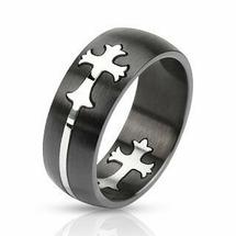 Кольцо черное со стальным кельтским крестом Spikes