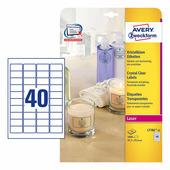 Прозрачные самоклеющиеся этикетки Avery Zweckform 45.7x25.4 мм (40 шт. на листе A4, 25 листов) {L7781-25}