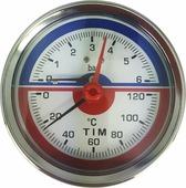"""Термоманометр аксиальный TIM, 6 Бар, 120, 1/2""""н, MP-У"""