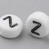 """Акриловая Буква """"Z"""", Круглая плоская, 7×4 мм, Белая"""