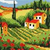 Белоснежка Мозаичная картина на подрамнике Сельский пейзаж, 20х20 см