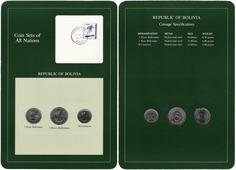 """Серия """"Наборы монет всех стран мира"""" - Боливия (набор из 3 монет и 1 марки в буклете) T350419"""