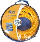 Трос буксировочный Kraft, канатный, желтый, 5 т, в сумке, 4,5 м