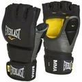 Перчатки профессиональные EVERLAST для боев MMA (L/XL, кожа, черный/серый)