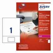 Комплект приглашение и бейдж «2в1», белый 80x50 мм (100 листов A4) {L4797-100}