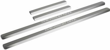 Накладки на пороги Rival для Chevrolet Niva I рестайлинг 2009-н.в., нерж. сталь, с надписью, 4 шт. NP.1004.3