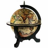 W Глобус-бар настольный (диаметр 33 см, белый с черной подставкой)