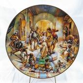 """Декоративная коллекционная тарелка """"Сотворение: Свадьба Иакова"""". Фарфор, деколь. Великобритания, Royal Cornwall, 1978"""