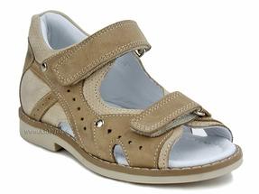 096-282-237 (26-30) Джойшуз (DJOY SHOES), сандалии детские открытые ортопедические профилактические, кожа, светло-коричневый, бежевый
